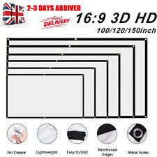 """120/150"""" Inch Projector Projection Screen Film 16:9 Matte HD Home Cinema Theater"""