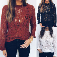 Womens Summer Hollow Lace Crochet T Shirt Blouse Long Sleeve Casual T-Shirt Tops