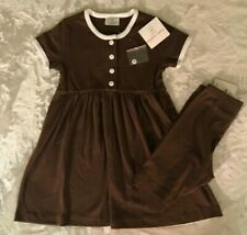 Hanna Andersson Brown  Day Dress and Shorts size 110 (5-6) NWT New