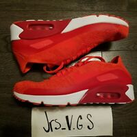 NIKE AIR MAX 90 Ultra 2.0 Flyknit Running Shoes Mens 10.5 Red White 875943-600