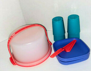 NEW Tupperware Tuppertoys Cake Taker with Plates Server Rare Colors Pink Purple
