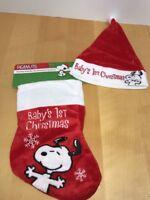 Peanuts Snoopy Babies 1st Christmas Stocking &  Santa Hat Set NWT