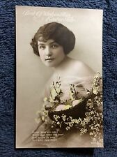 PRETTY WOMAN WITH EASTER EGG BASKET COLOR 1900s REAL PHOTO POSTCARD USED   #1-v