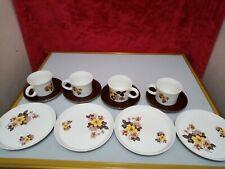 16 PEICE Vintage ironstone coffee set - X4 CUPS X4 SAUCERS X4 SIDE PLATES