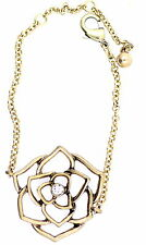Vintage retro style gold lotus flower chain bracelet