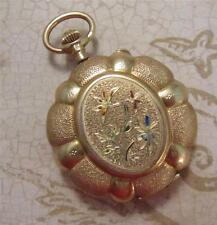 Antique Ladies 14k Gold Ornate Locket Pocket Watch 10 Jewels