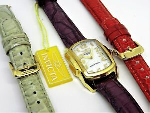 New Invicta Special Edition Swiss Quartz Watch MOP Dial 2 Extra Band New Battery