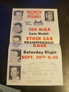Nazareth Speedway 1969 100 Mile Stock Car Championship Race Flyer Poster Sept 20