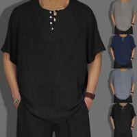 Men's Summer Cotton Linen Solid Short Sleeve Retro Casual T Shirts Tops Blouse