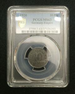 1920 German Empire 10 Reichspfennig PCGS MS63 Rare Coin