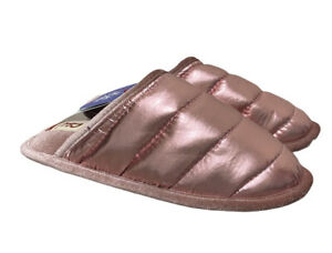 """Dearfoams Women's Size 7/8 Metallic Pink Slippers """"Puffer Scuff"""" --New With Tag!"""