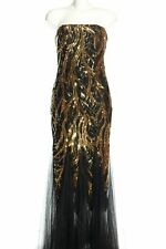 ANGEL-FASHIONS Abendkleid schwarz-goldfarben Elegant Damen Gr. DE 36 Kleid Dress