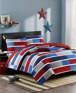 Mi Zone 3-piece Reversible Coverlet Set Patchwork , Navy/ Red - Twin - Twin XL