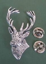 Stag's Head Pewter Pin, hand made in Cornwall, large size 5.5 cm, 2 pin backs