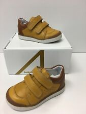 BabyBotte Amac Infant Boys Casual Shoes In Mustard Leather with Tan Detail