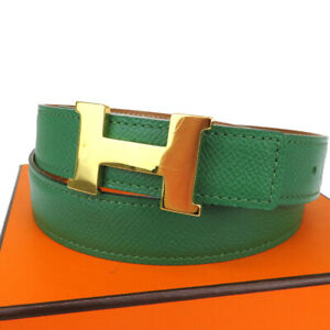 HERMES Constance H Buckle Reversible Belt Leather Green Accessory #70 62BU180