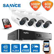 SANNCE 1080P HD 4CH CCTV NVR 4x2MP Metal IP66 Security POE Camera System 1TB HDD