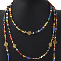 LARIAT necklace Old African trade glass seed beads Ashanti brass handmade Boho