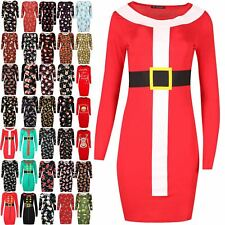 Womens Ladies Christmas Belted Suit Santa Claus Costume Xmas Bodycon Mini Dress