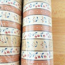 2 Vintage 70s-80s Prairie Earth Tones Floral Stripe Wallpaper Cottage Core