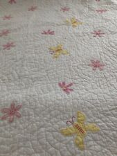 RARE~POTTERY BARN KIDS~TWIN/FULL~WHITE~APPLIQUED DAISY~BUTTERFLY~REVERSE to PINK