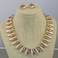 Vintage Coro Egyptian Style Necklace & Earrings Tan & White Moonglow Thermoset