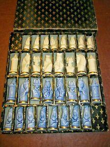 French Limoges Porcelain Chess Set Blue & White Gold Trim 32 Pieces Original Box