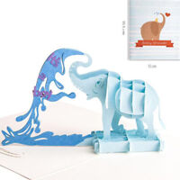 3D Elephant Pops-Up Card Handmade Greeting Invitation Card For Baby Shower Party
