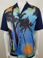 Hawaiian Shirt Mens Medium Blue Aloha Surf Palm Tree Graphic Print Street Saavy