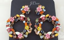 NWT Authentic J CREW Colorful Floral Hoop Earrings Multi G3346 w/ Bag FAST SHIP!