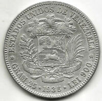 Venezuela 5 Bolivares  1935 Plata Fuerte de Simon Bolivar @ Excelente @