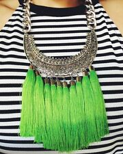 Womens Statement Necklace Handmade Green Tribal Engraved  Bib Collar Tassel