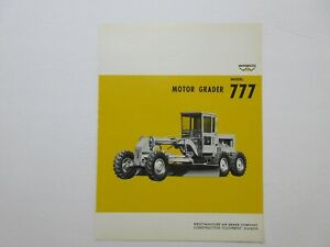 Rare Wabco 777 Motor Grader Sales Sheet 1968