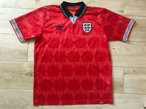 ORIGINAL Vintage 1990 Red UMBRO ENGLAND Italia 90 SHIRT (L) *NICE COND*