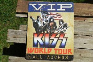 KISS VIP World Tour Tin Metal Sign - Destroyer - Gene Simmons - Paul Stanley