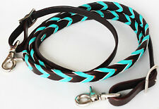 Horse Roping Tack Western Barrel Harness Leather Reins Brown Turquoise 607316