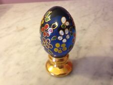 "Fenton Hand painted Gold Base 3.5"" Egg on Stand Paperweight   g6"