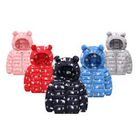 Kids Baby Boys Girls Winter Warm Outwear Down Cotton Hooded Zipper Coat Jacket