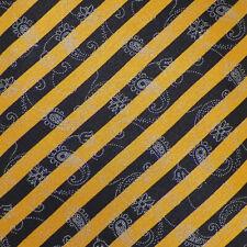 DOLCEPUNTA Mens Gold Black PAISLEY STRIPED Handmade Silk Tie Italy EUC