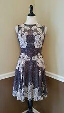 Modcloth Self-Taught Stylista Dress 2 Black Ivory Lace Print $149 Maggy London