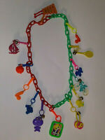 Vintage 1980s Plastic Clip On Charm Necklace w/ 13 Charms Red and Green Chain