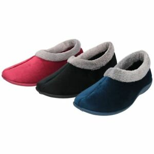 LADIES RUBBER SOLE  MEMORY FOAM CUSHIONED WARM INDOOR SLIPPERS SHOES,SIZES 3-8