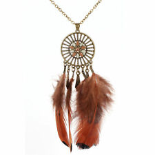 Boho Style Bronze Coloured Long Chain Feather Dream Catcher Necklace