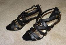 "Dexflex Comfort Womens Slip On Sandals 3"" Wedge Heels Cross Strap Black - Size 9"