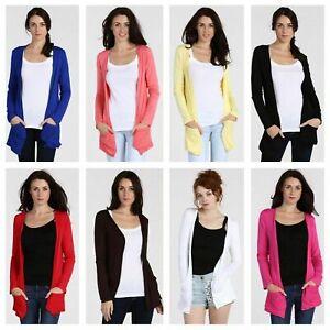 Women Long Sleeve Boyfriend Cardigan With Pocket Ladies Open Front Top Size 8-26