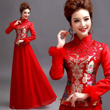L346 Red Formal Evening Wedding Dress Beautiful Chinese Bride Dress Cheongsam