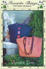 ANNIE'S TOTE ~ Purse/Bag/Tote pattern by Favorite Things Pattern Designs