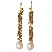 925 Solid Sterling Silver Gold Plated Pyrite & Pearl Gemstone Dangle Earrings