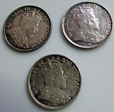 Canada  5 Cents 1902 1902 H 1908 Lot Of 3 Silver Trio Edward VII
