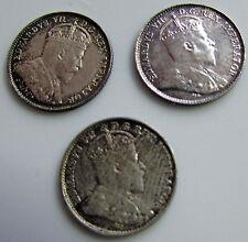 Canada  5 Cents 1902 1902 H 1908 Lot Of 3 Silver Trio Edward VII